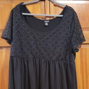 Torrid Size 3 Black Lace Babydoll Top